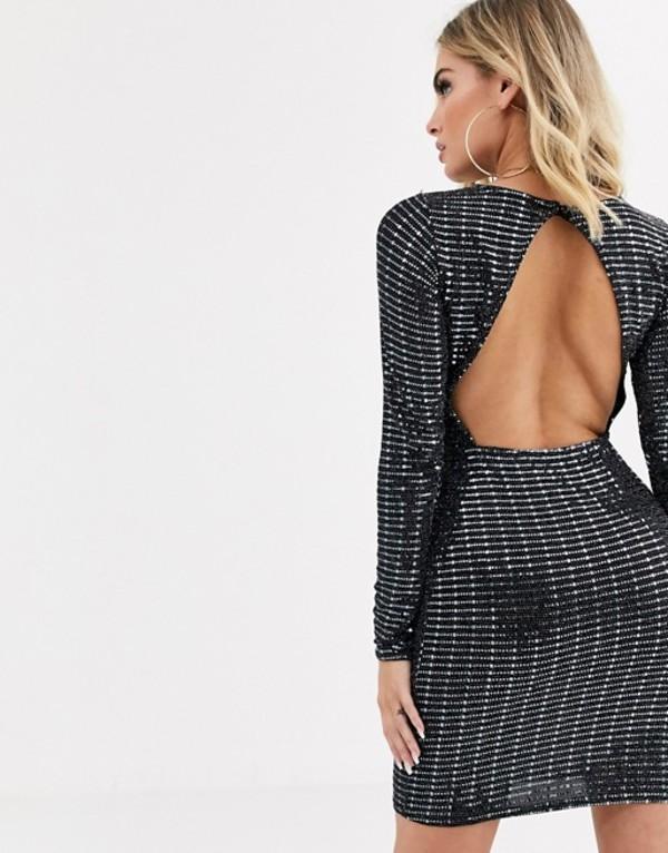 ミスガイデッド レディース ワンピース トップス Missguided open back sequin long sleeve bodycon dress in black Black