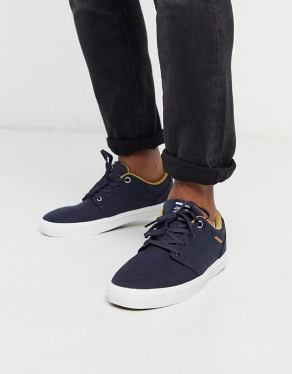 ジャック アンド ジョーンズ メンズ スニーカー シューズ Jack & Jones canvas sneaker in navy Navy blazer