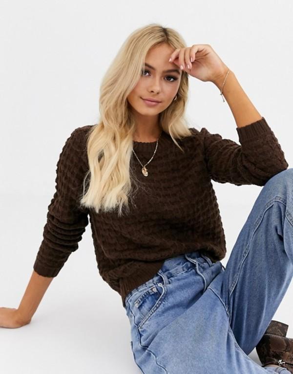 ジェイディーワイ レディース ニット・セーター アウター JDY textured cable sweater in brown Brown