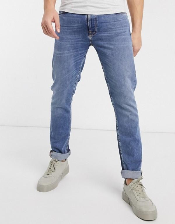 ヌーディージーンズ メンズ デニムパンツ ボトムス Nudie Jeans Lean Dean slim tapered fit jeans in lost orange Blue