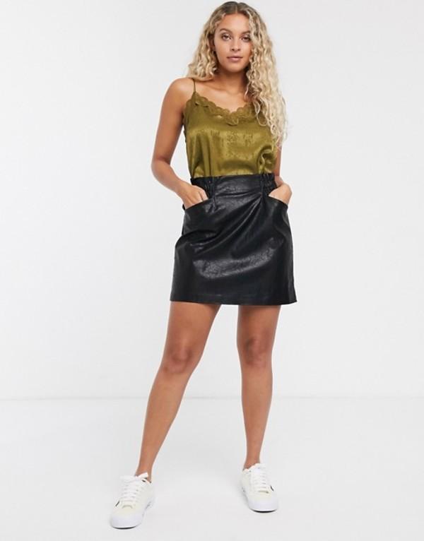 オンリー レディース スカート ボトムス Only leather look skirt with pocket detail in black Black