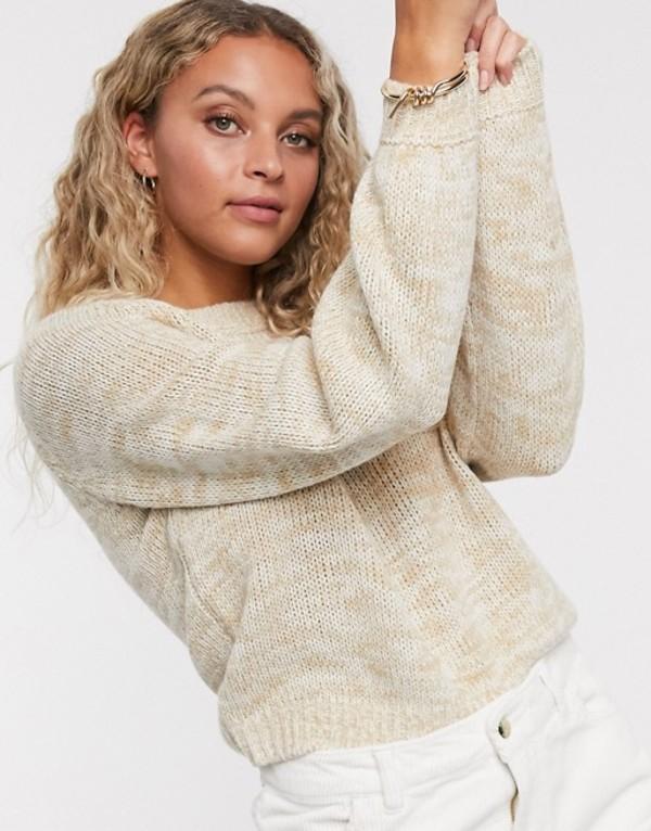 オンリー レディース ニット・セーター アウター Only volume sleeve sweater in marl Cream