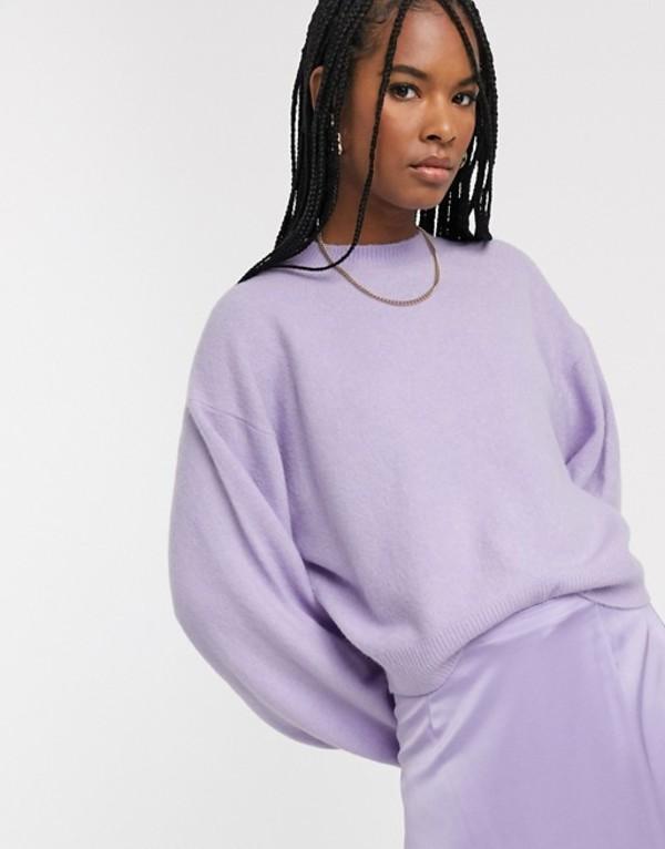 ウィークデイ レディース ニット・セーター アウター Weekday knitted balloon sleeve sweater in lavender Lavender