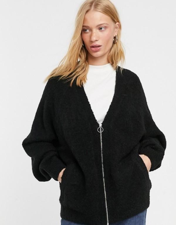 ウィークデイ レディース ニット・セーター アウター Weekday knitted zipped cardigan in black Black