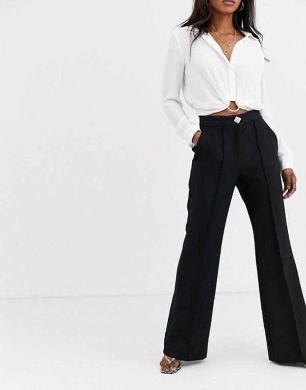 リバーアイランド レディース カジュアルパンツ ボトムス River Island flared pants in black Black