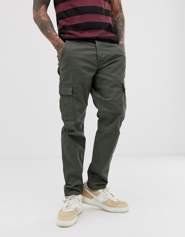 オンリーアンドサンズ メンズ カジュアルパンツ ボトムス Only & Sons tapered fit cargo pants in khaki Forest night