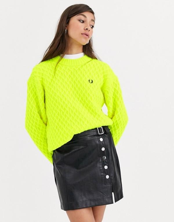 フレッドペリー レディース ニット・セーター アウター Fred Perry textured sweater J43 yellow