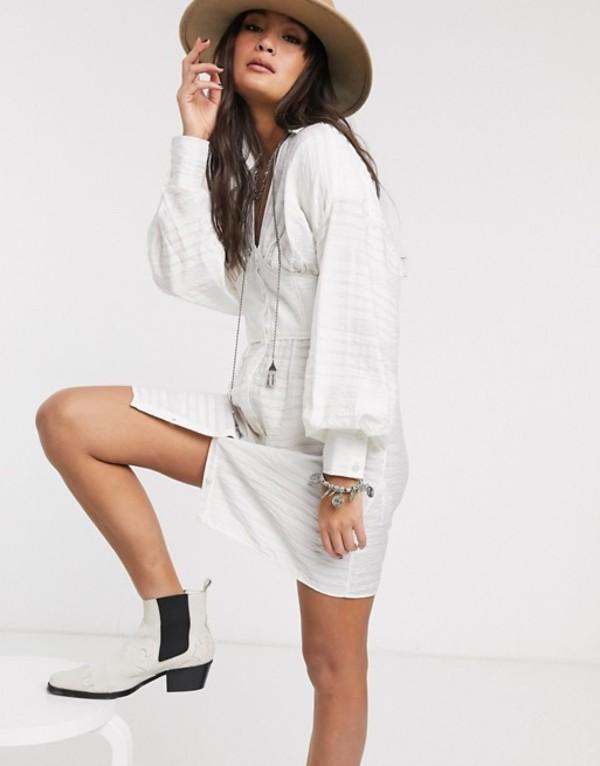 エイソス レディース ワンピース トップス ASOS DESIGN mini shirt dress with corset waist detail White