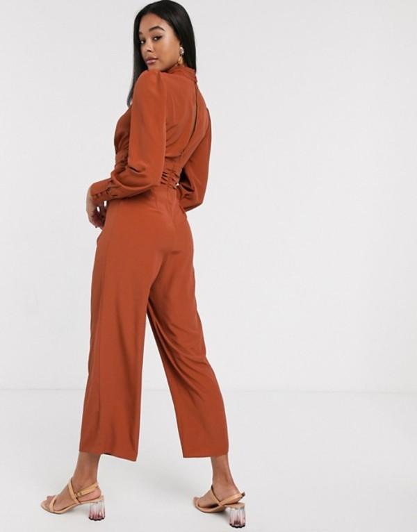 エイソス レディース ワンピース トップス ASOS DESIGN ruched waist detail jumpsuit with split front Terracotta5L4qA3jcRS