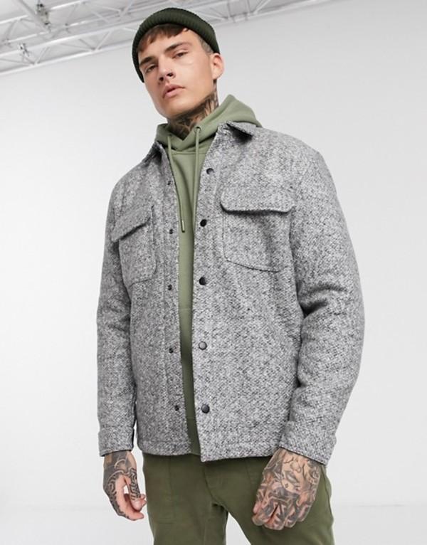 プルアンドベアー メンズ ジャケット・ブルゾン アウター Pull&Bear jacket with chest pockets in gray marl Light grey