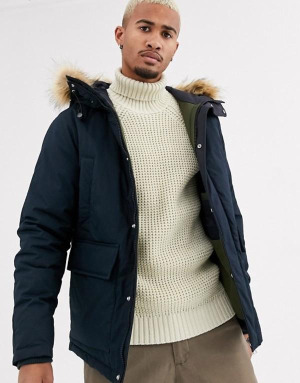 プルアンドベアー メンズ コート アウター Pull&Bear hooded jacket with faux fur in navy Navy blue