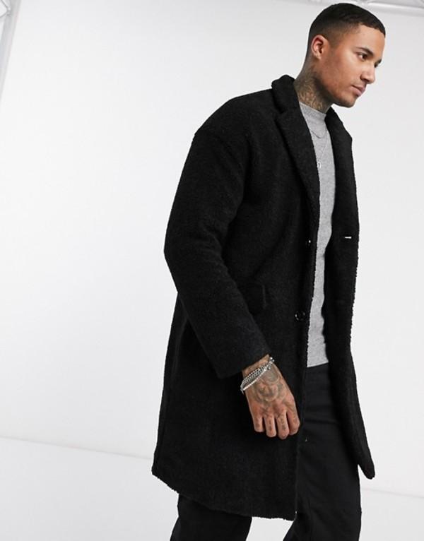 プルアンドベアー メンズ コート アウター Pull&Bear borg long coat in black Black