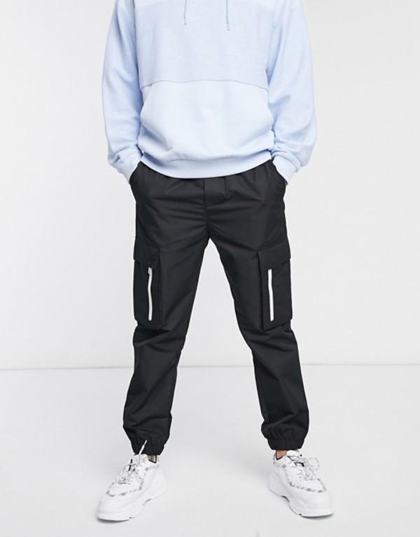 プルアンドベアー メンズ カジュアルパンツ ボトムス Pull&Bear cargo sweatpants with white zip detail in black Navy