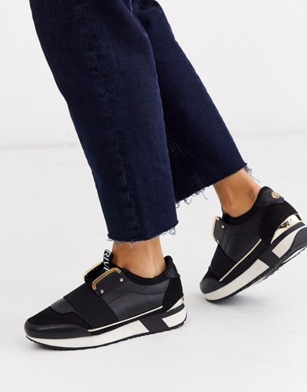 リバーアイランド レディース スニーカー シューズ River Island runner sneaker in black Black