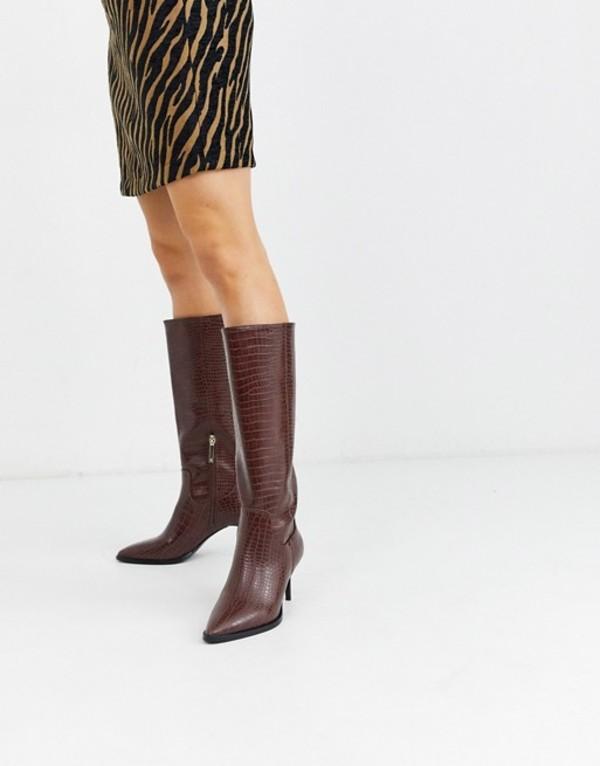 リバーアイランド レディース ブーツ・レインブーツ シューズ River Island stiletto heel knee high boots in tan croc Tan