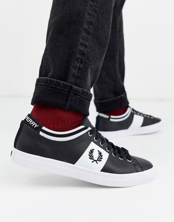 フレッドペリー メンズ スニーカー シューズ Fred Perry Underspin tipped cuff leather sneakers in black Black