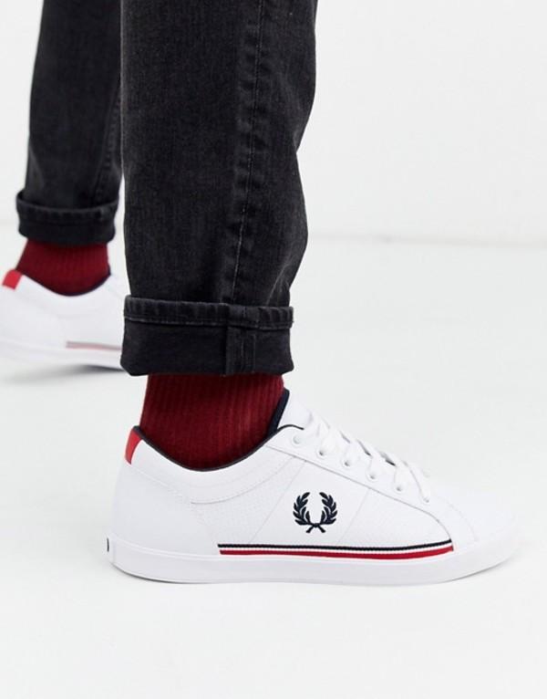 フレッドペリー メンズ スニーカー シューズ Fred Perry Baseline perforated sneakers in white White