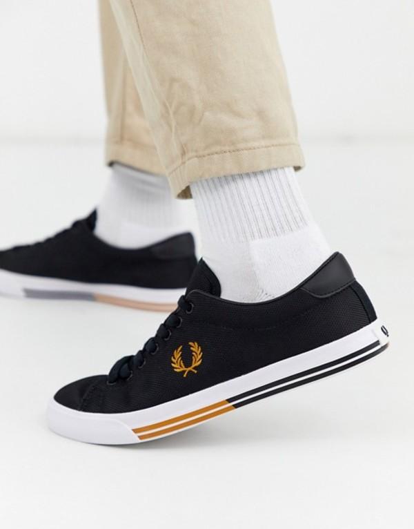 フレッドペリー メンズ スニーカー シューズ Fred Perry Underspin matt canvas sneakers in black Black