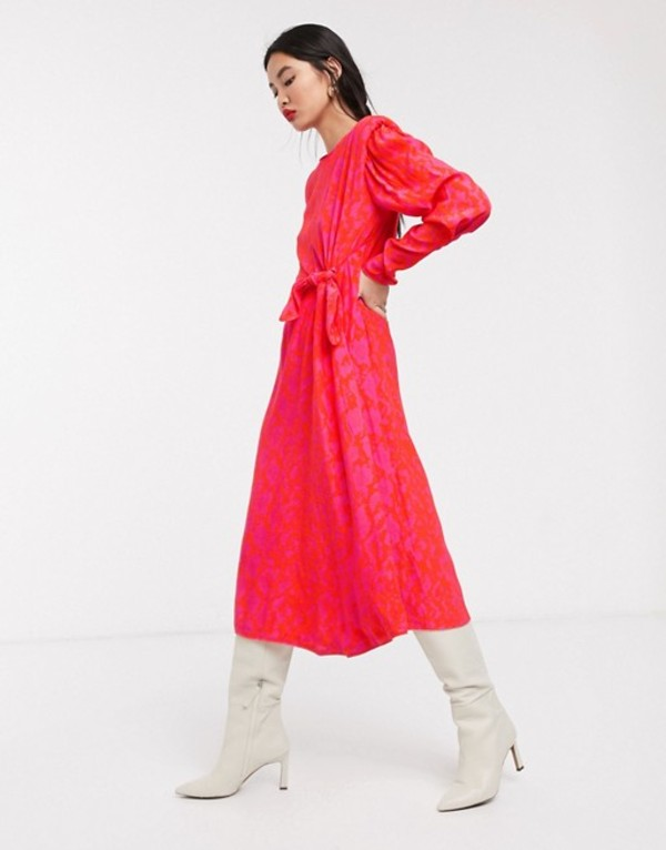 エイソス レディース ワンピース トップス ASOS WHITE snake print shoulder pad midi dress Pink