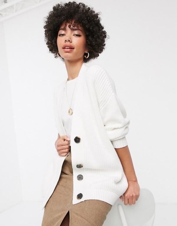 セレクティッド レディース カーディガン アウター Selected Femme longline cardigan with contrast buttons in white White