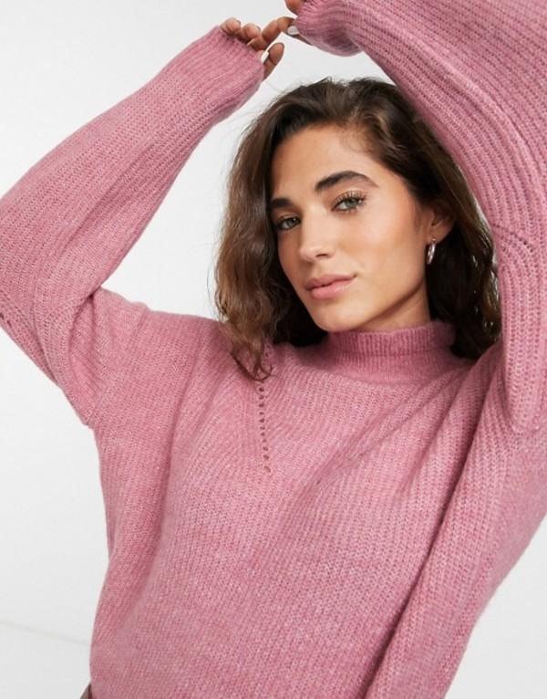セレクティッド レディース ニット・セーター アウター Selected Femme high neck sweater with stitch detail Heather rose