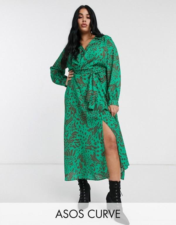 エイソス レディース ワンピース トップス ASOS DESIGN Curve wrap front midi dress in abstract animal print Green based animallFK1Jc