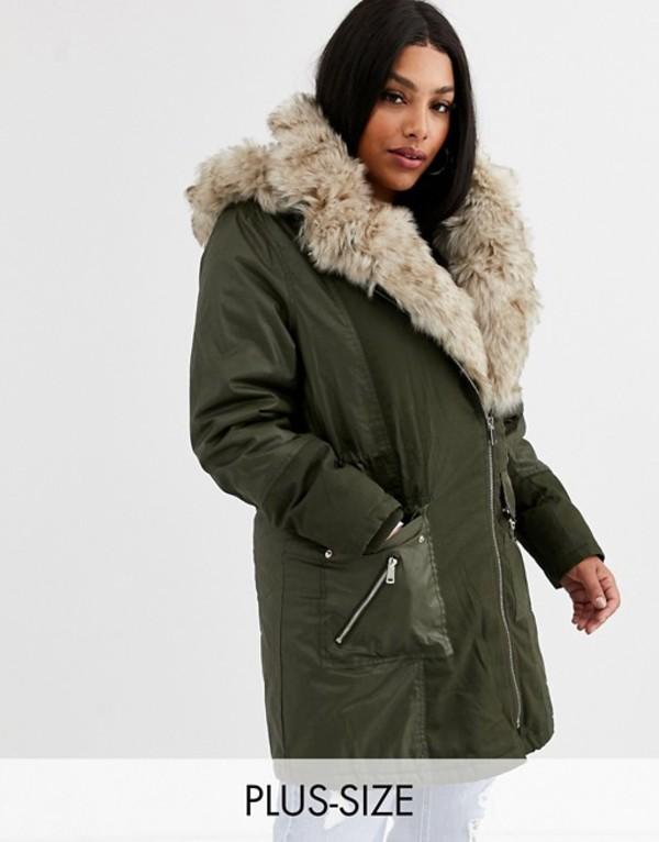 リバーアイランド レディース コート アウター River Island faux fur trim parka coat in khaki Khaki