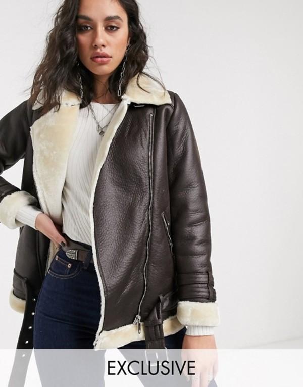 オンリー レディース ジャケット・ブルゾン アウター Only aviator jacket in faux leather with contrast shearling Brown