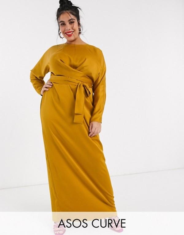 エイソス レディース ワンピース トップス ASOS DESIGN Curve maxi dress with batwing sleeve and wrap waist in satin Mustard