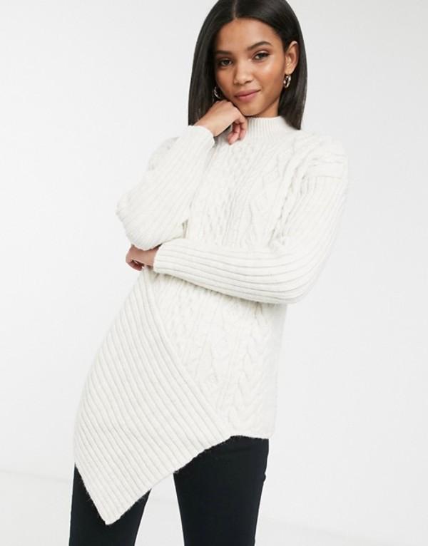リバーアイランド レディース ニット・セーター アウター River Island asymmetric cable knit sweater in cream Cream