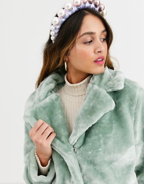 キューイーディーロンドン レディース コート アウター QED London faux fur coat in mint Mint