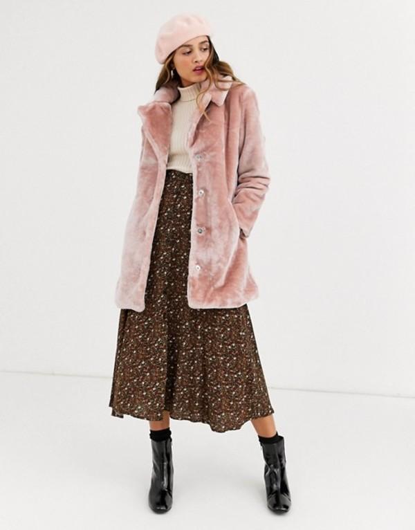 キューイーディーロンドン レディース コート アウター QED London faux fur coat in blush Blush