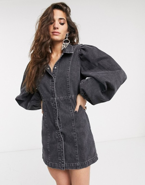 フリーピープル レディース ワンピース トップス Free People mia denim mini dress Black