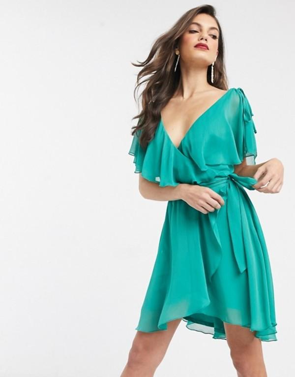 エイソス レディース ワンピース トップス ASOS DESIGN mini split sleeve cape back with tie shoulder Jade green