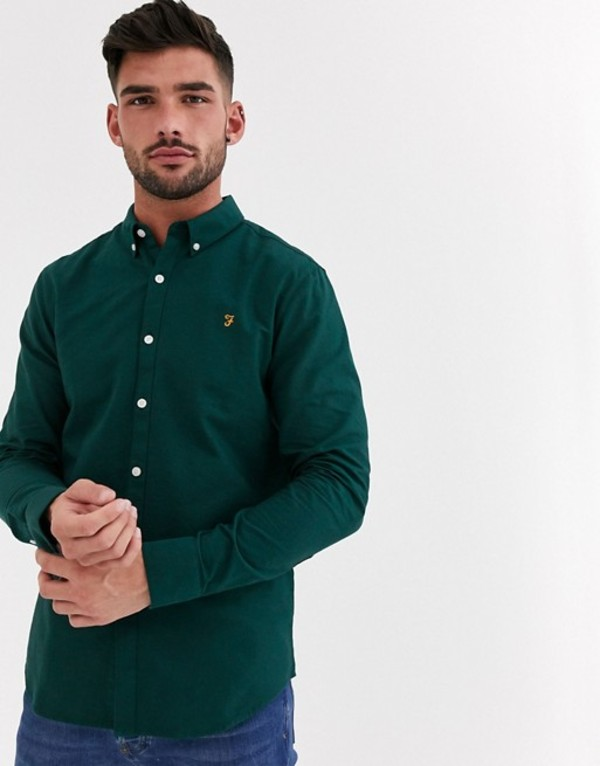ファーラー メンズ シャツ トップス Farah Brewer oxford shirt with button down collar in green Green