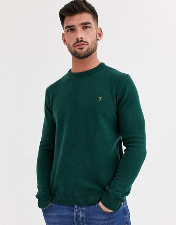 ファーラー メンズ ニット・セーター アウター Farah Rosecroft crew neck lambswool sweater in green Green