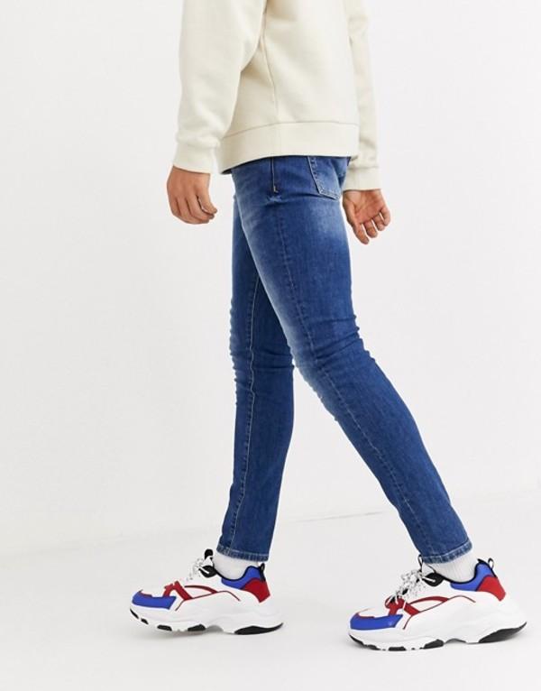 メニス メンズ デニムパンツ ボトムス Mennace skinny jeans in mid blue wash Blue