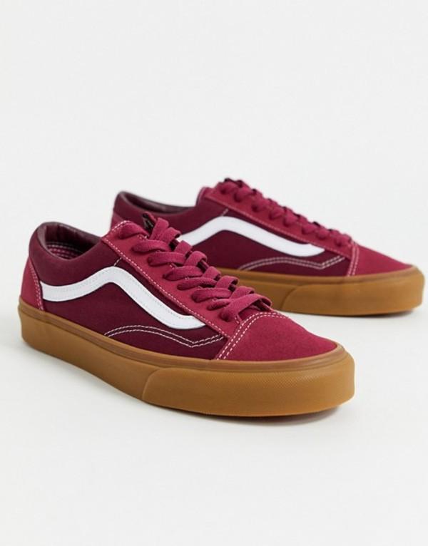 バンズ メンズ スニーカー シューズ Vans UA Style 36 gum sole sneakers in burgundy (gum) beet red/port