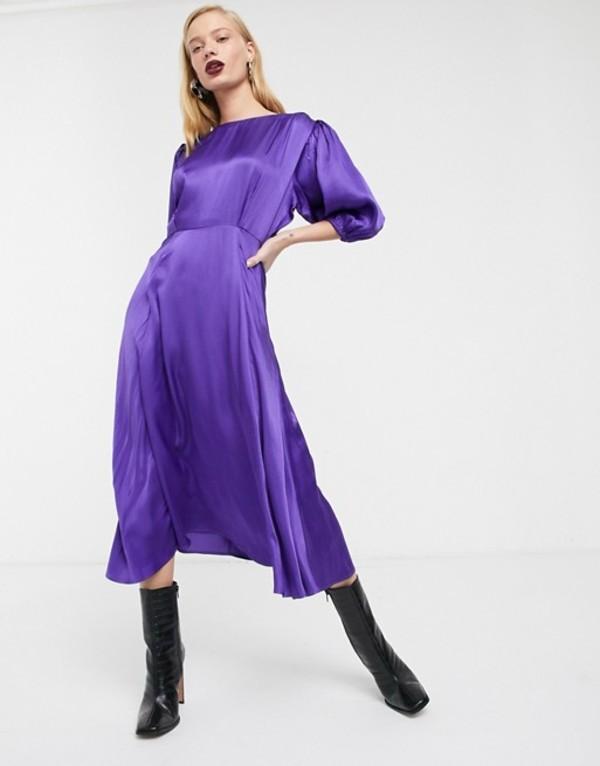 エイソス レディース ワンピース トップス ASOS WHITE satin puff sleeve midi tea dress Purple