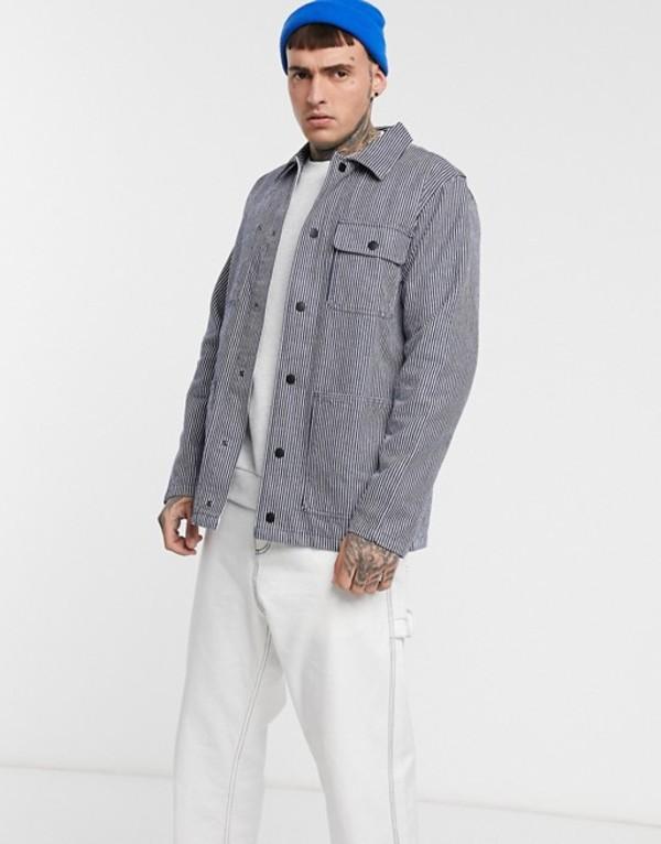 バンズ メンズ ジャケット・ブルゾン アウター Vans Drill Chore jacket in blue hickory stripe Dress blues hickory