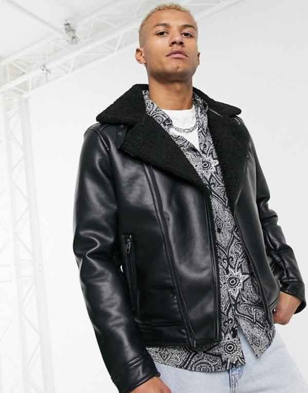 ベルシュカ メンズ ジャケット・ブルゾン アウター Bershka faux leather avaitor jacket with fleece lining in black Black