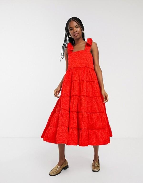 シスタージュン レディース ワンピース トップス Sister Jane tiered volume midaxi dress with tie shoulders in jaquard Red