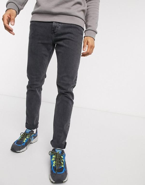 ウィークデイ メンズ デニムパンツ ボトムス Weekday Sunday tapered jeans in night black Black