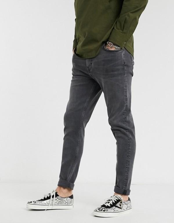 ウィークデイ メンズ デニムパンツ ボトムス Weekday Cone tapered jeans in black Black