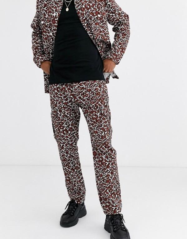 プルアンドベアー メンズ カジュアルパンツ ボトムス Pull&Bear two-piece pants in leopard print Brown