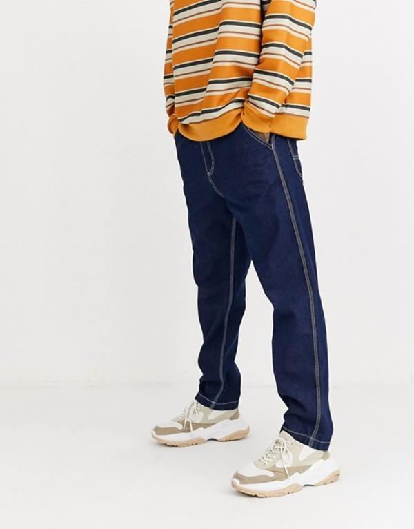 プルアンドベアー メンズ デニムパンツ ボトムス Pull&Bear loose fit jeans in blue contrast stitch Blue