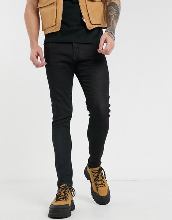 プルアンドベアー メンズ デニムパンツ ボトムス Pull&Bear skinny jeans in soft fabric black Black
