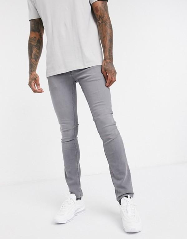 ジャック アンド ジョーンズ メンズ デニムパンツ ボトムス Jack & Jones Intelligence skinny fit super stretch jeans in light gray Light grey