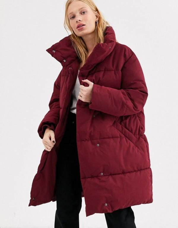 モンキ レディース ジャケット・ブルゾン アウター Monki longline puffer jacket in burgundy Burgundy
