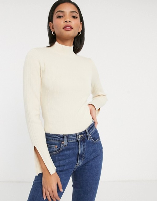 ワイエーエス レディース ニット・セーター アウター Y.A.S sweater with high neck and split cuff in cream Cream
